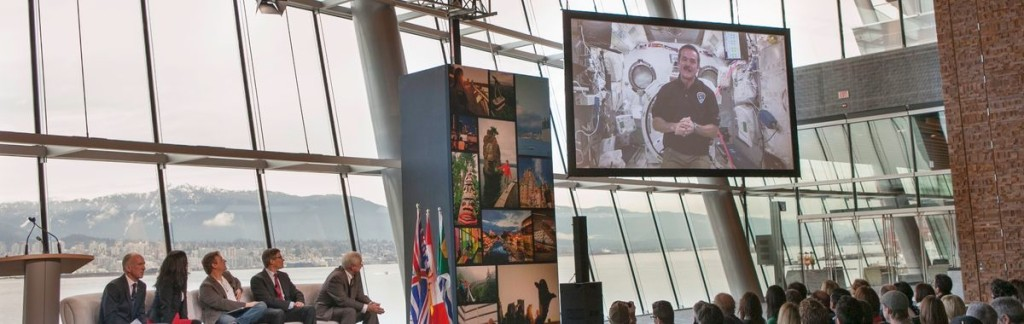 Chris Hadfield sending greetings to Vancouver directly from space.