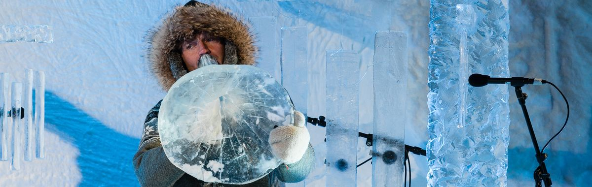 Terje Isungset playing the ice tuba during the Ice Music Festival in Geilo/Norway.