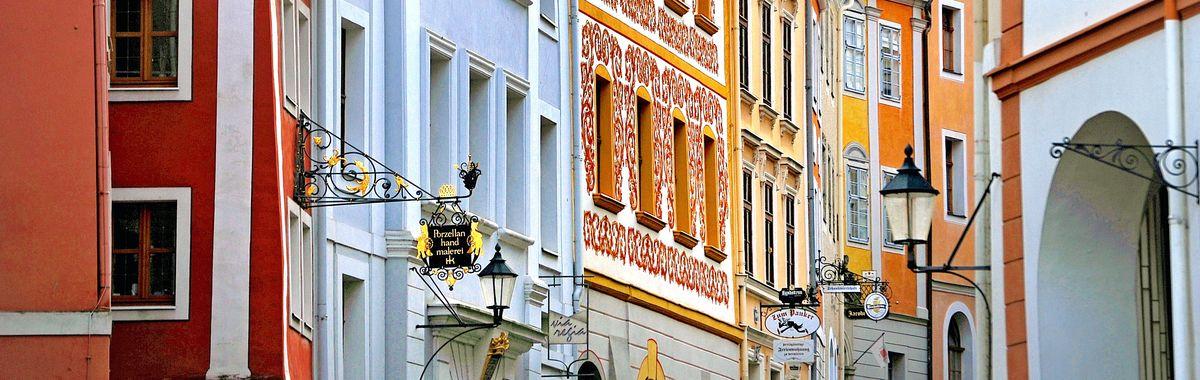 Beautiful buildings along Neisstraße in Goerlitz.