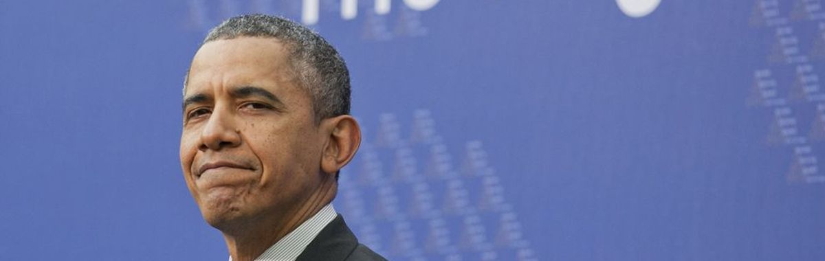 A sheepishly-looking Barack Obama at the Nuclear Security Summit in The Hague 2014