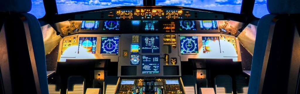 Flight simulator at Frankfurt Airport. A flight simulator excuses laymen's shortcomings
