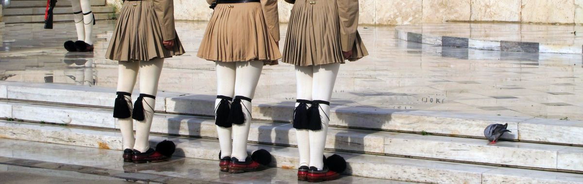 The guards in front of the Greek Parliament in Athens standing at attention.