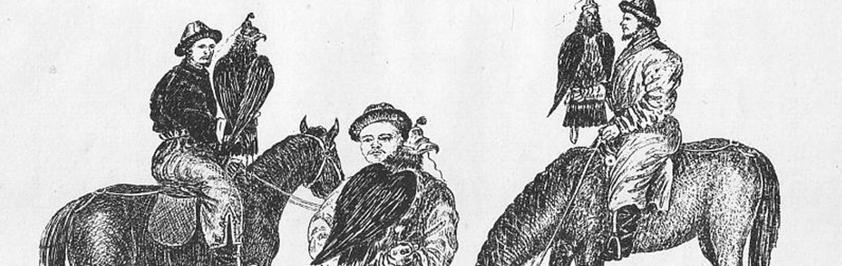 "A black-and-white drawing. T.E. Gordon's ""Hunting with Golden Eagles"". A creative commons picture."