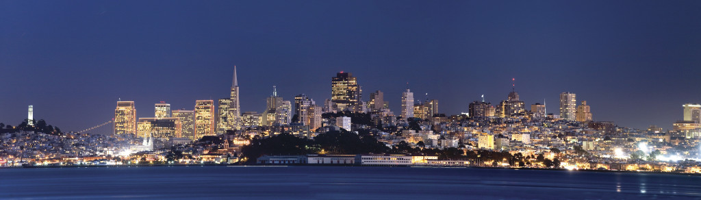 A view on nightly San Fransisco from Cavallo Point Lodge.