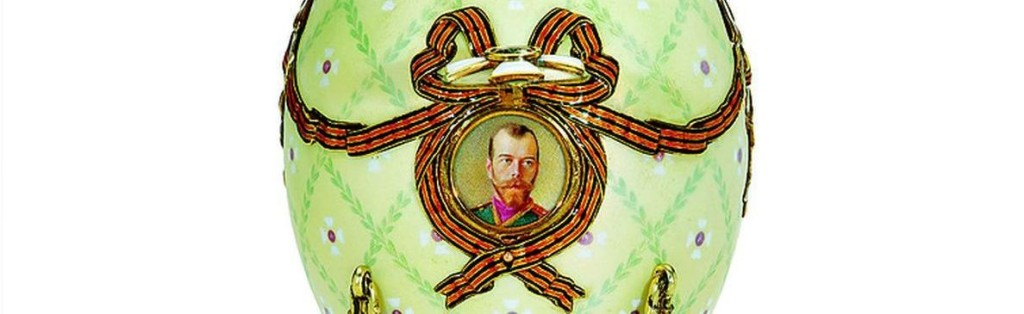 A green Easter egg depicting Czar Nicholas II. The Fabergé Museum in St. Petersburg