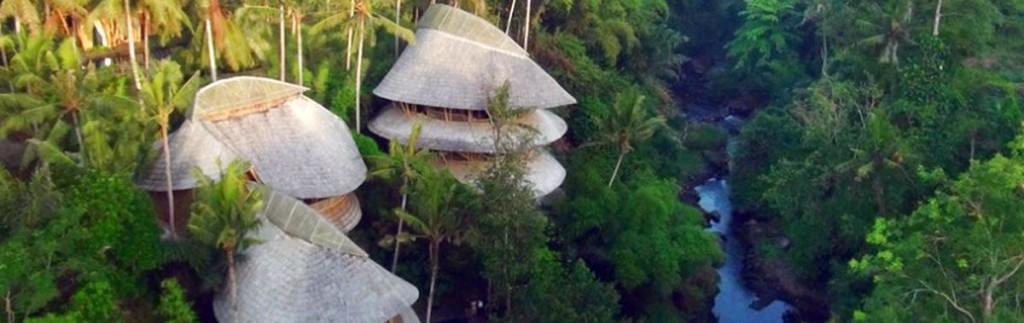 Modern structures in Bali made of Bamboo