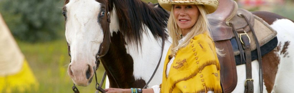 "Madeline Pickens spends her life saving America's Mustangs. Here with her horse ""Paint""."