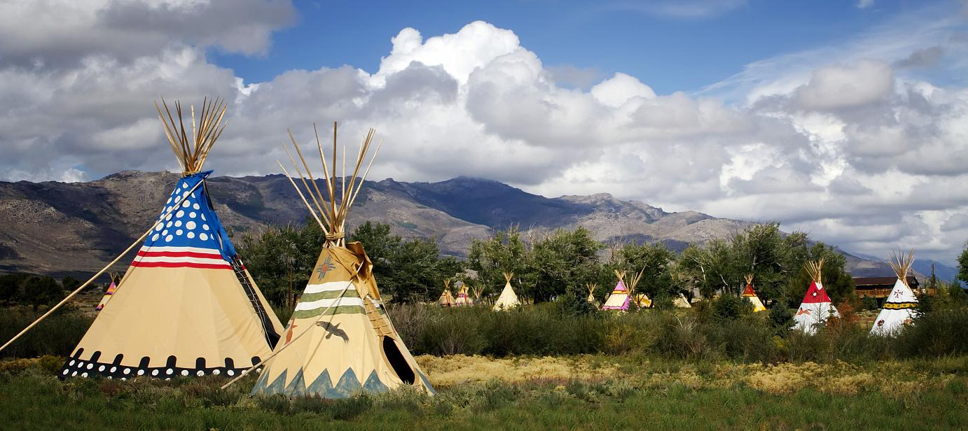 Tipis at the Mustang Monument
