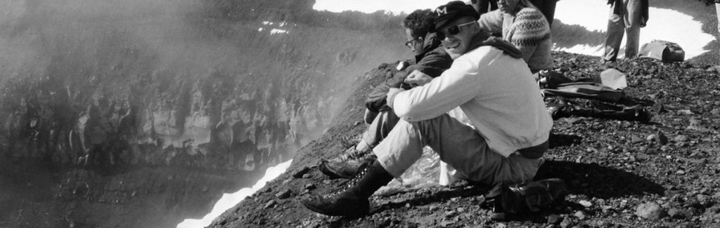 Black-and-white: Astronauts resting during a training at the Askja Crater in Iceland.