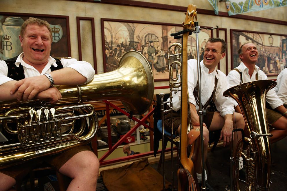 Fellows in instruments: a typical traditional brass band entertaining the crowds. Photo: ©Frank Bauer