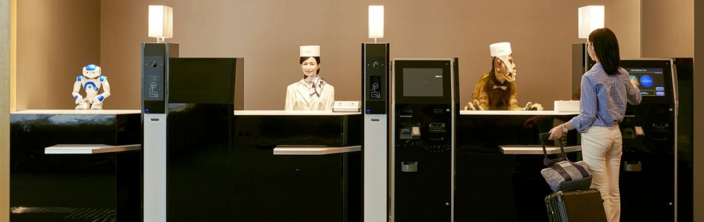 Robots working at a hotel reception in Nagasaki.