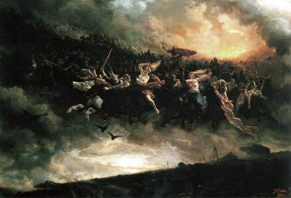 """Wearing a long white beard and a deep-blue cloak fluttering in the wind, Odin, the one-eyed Germanic pagan God, rode on his eight-legged stallion Sleipnir to visit his people and to delight them with lavish presents during Yuletide. His second eye he sacrificed to draw wisdom from the fountain of Mimir. Mythology has it that Odin was the leader of the Wild Hunt, a ghostly procession of fairies, elves and the dead mysteriously travelling aloft midwinter skies, as depicted here: """"Åsgårdsreien"""" (1872) by Peter Nicolai Arbo. This image is in the public domain (creative commons)."""