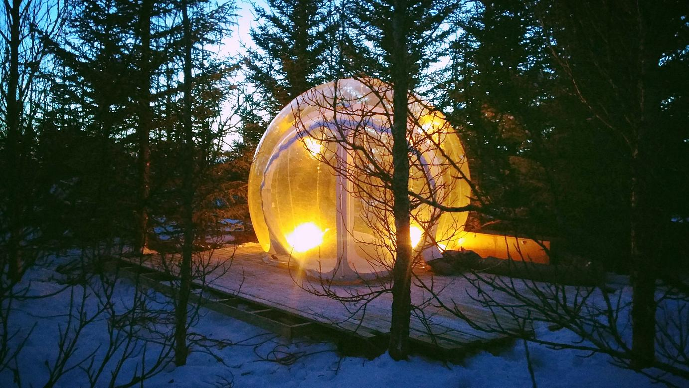 Iceland: Sleeping in atransparent bubble.