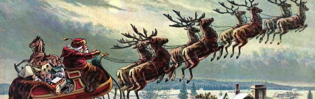 Santa with his eight reindeer as seen by poet Clement Clarke Moor.