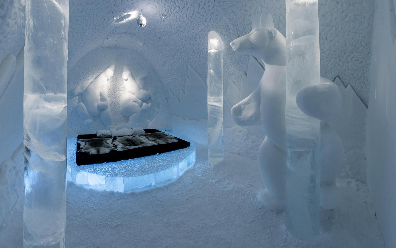 "ICEHOTEL in Sweden: ""Pole-dancing by Polar Bear"". Photo credit: Christopher Hauser"