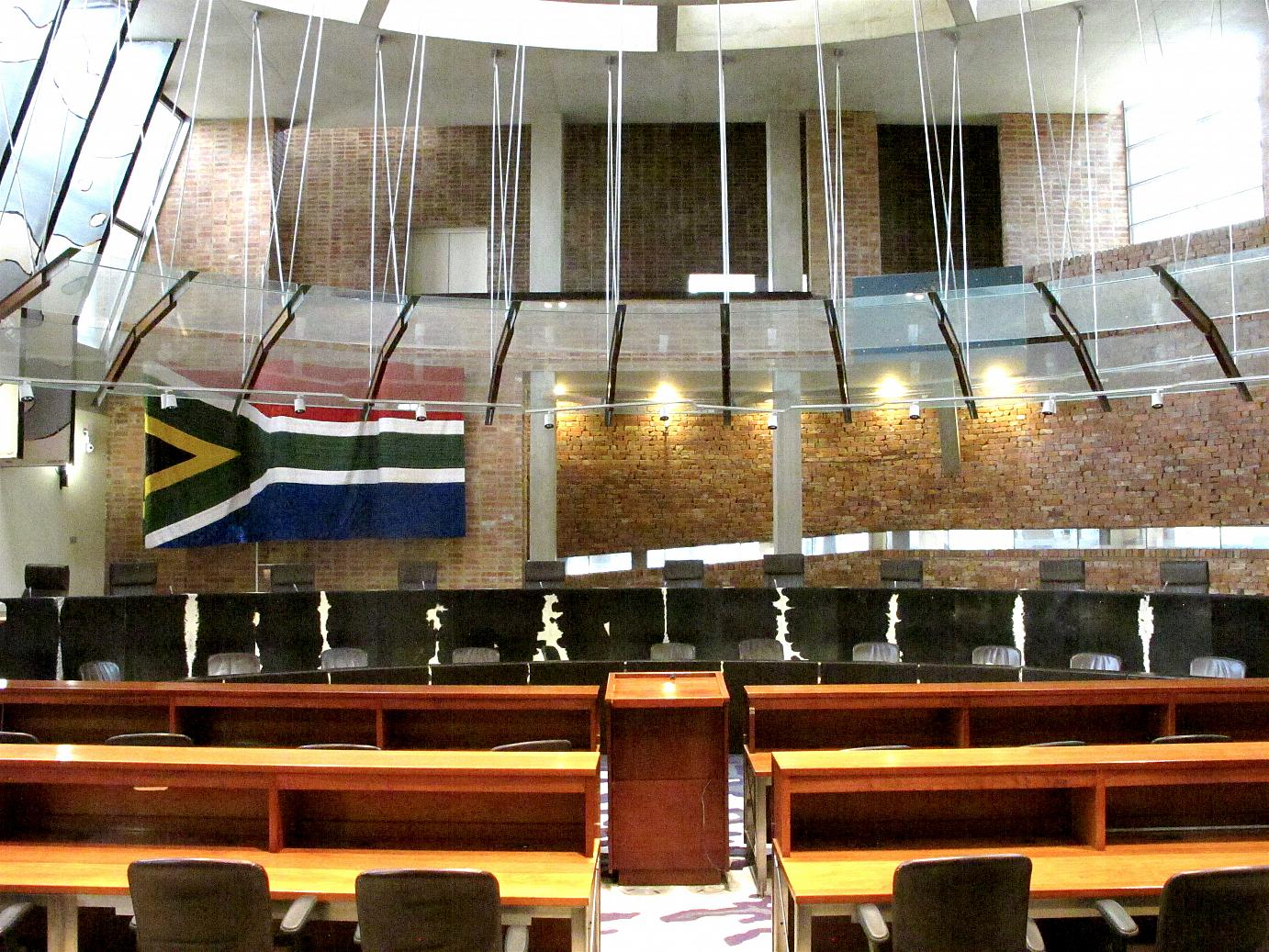The Plenary Hall of the Constitutional Court in Johannesburg.